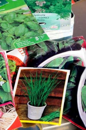 u k: England, UK - January 25, 2012 - Selection of herb and vegetable seed packets, England, UK, Western Europe