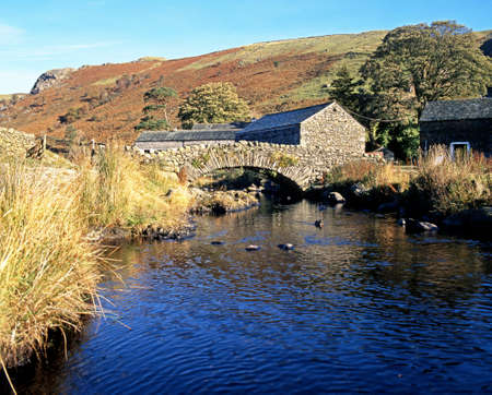 Stone bridge over stream, Watendlath, Lake District, Cumbria, England, UK, Western Europe Stock Photo - 27735868