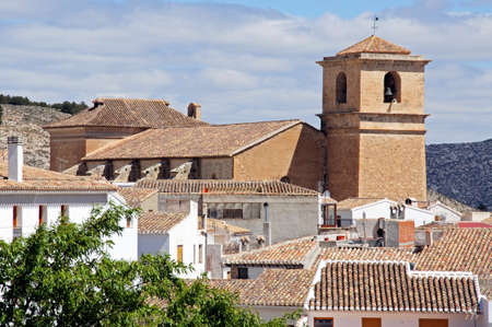 blanco: View of church and townhouses, Velez Blanco, Almeria Province, Andalucia, Spain, Western Europe