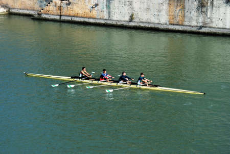 sculling: Seville, Spain - November 15, 2008 - Rowers on the River Guadalquivir, Seville, Andalusia, Spain, Western Europe