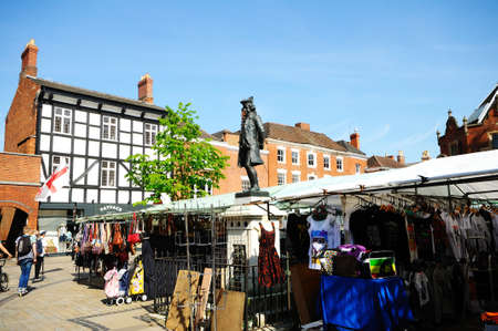 market place: Lichfield, England - May 3, 2014 - Market Place with statue of Boswell, Lichfield, Staffordshire, England, United Kingdom, Western Europe