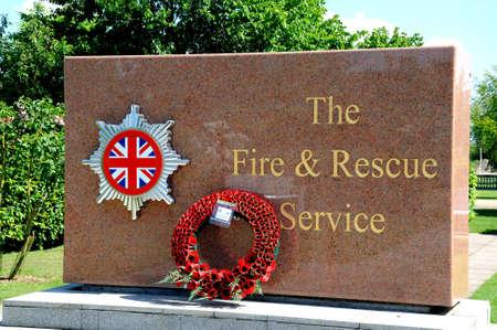 rescue service: Alrewas, United Kingdom - May 21,k 2014 - The fire and rescue service memorial, National Memorial Arboretum, Alrewas, Staffordshire, England, UK, Western Europe