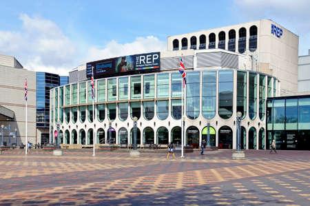 centenary: Birmingham, UK - May 14, 2014 - Front view of the Repertory Theatre Centenary Square, Birmingham, England, UK, Western Europe