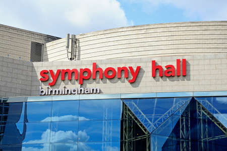 writing western: Birmingham, United Kingdom - May 14, 2014 - Part of the Symphony Hall building showing the name, Centenary Square, Birmingham, England, UK, Western Europe