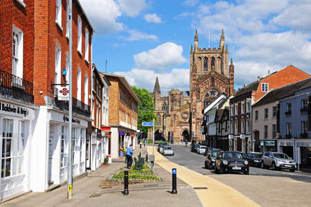 king street: Hereford, United Kingdom - June 5, 2014 - Front view of the Cathedral at the end of King Street, Hereford, Herefordshire, England, UK, Western Europe