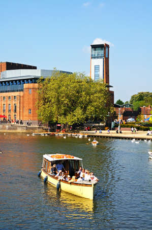 Stratford-upon-Avon, UK - May 18, 2014 - Royal Shakespeare Company Theatre along the River Avon, Stratford-Upon-Avon, Warwickshire, England, United Kingdom, Western Europe