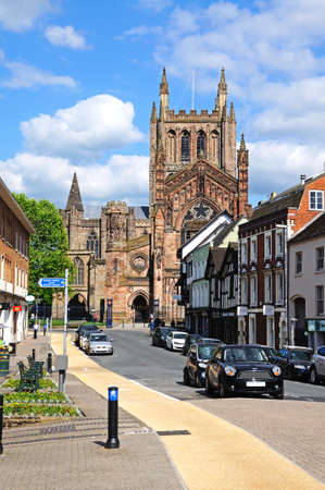 king street: Hereford, United Kingdom - June 5, 2014 -Front view of the Cathedral at the end of King Street, Hereford, Herefordshire, England, UK, Western Europe