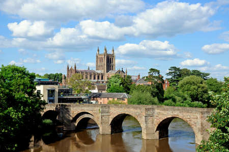 View of the Cathedral, the Wye Bridge and the River Wye, Hereford, Herefordshire, England, UK, Western Europe