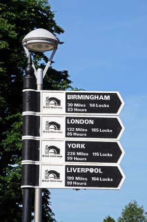 mileage: Stratford-upon-Avon, UK - June 12, 2014 - Canal mileage sign showing distances to various destinations, Stratford-upon-Avon, Warwickshire, England, UK, Western Europe    Editorial