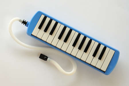 octaves: Blue and white Pianica blow-organ