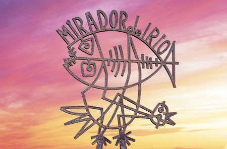 Teken van de ingang naar de Mirador observatie gebouw, Mirador del Rio, Lanzarote, Canarische Eilanden, Spanje