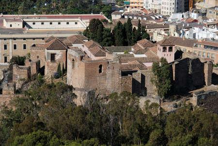 alcazaba: Elevated view of the citadel in Alcazaba de Malaga  from the Gibralfaro castle, Spain Stock Photo