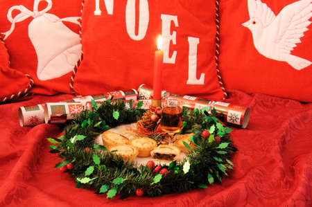 sherry: Mince pies and sherry with red candles  Stock Photo
