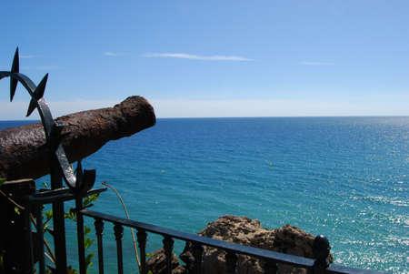 balcon: Old canon along the Balcony of Europe  Balcon de Europa , Nerja, Costa del Sol, Malaga Province, Andalucia, Spain, Western Europe