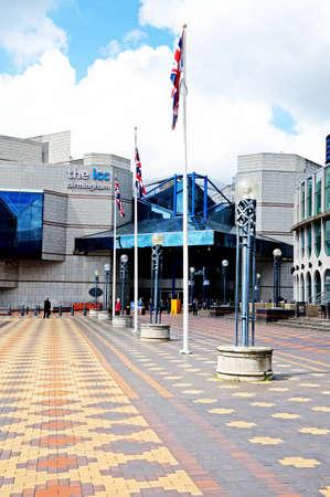 icc: Birmingham, UK - May 14, 2014 - The main entrance to the International Convention Centre, Centenary Square, Birmingham, England, UK, Western Europe