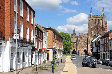 gb: Hereford, United Kingdom - June 5, 2014 - Front view of the Cathedral at the end of King Street, Hereford, Herefordshire, England, UK, Western Europe