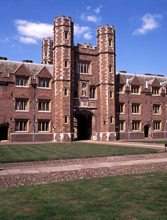 cambridgeshire: St. Johns College Great Gate along St. John Street, Cambridge, Cambridgeshire, England, United Kingdom, Western Europe.