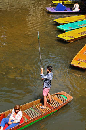 punting: Oxford, United Kingdom - June 17, 2014 - Punts on river Cherwell, Oxford, Oxfordshire, England, UK, Western Europe