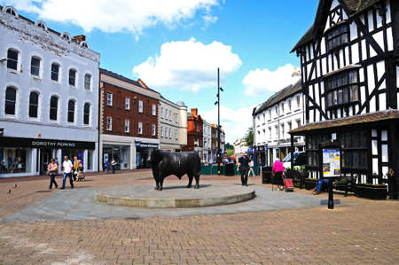 jacobean: Hereford, United Kingdom - June 5, 2014 - View of shopping area in the centre of the city with the High House in High Town Built in 1621, Hereford, Herefordshire, England, UK, Western Europe  Editorial