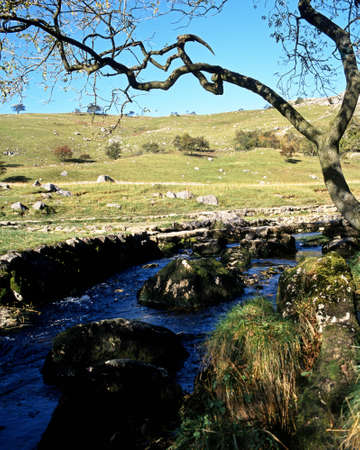 uk: Malham Beck and Clapper bridge, Malham, Yorkshire Dales, North Yorkshire, England, UK, Great Britain, Western Europe  Stock Photo