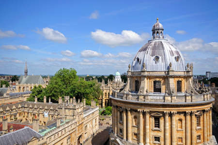 neo classical: Elevated view of Radcliffe Camera and surrounding buildings in Oxford, Oxfordshire, England