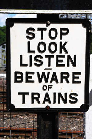 Old Retro beware of trains sign, Severn Valley Railway, Highley, Worcestershire, England, UK, Western Europe  photo