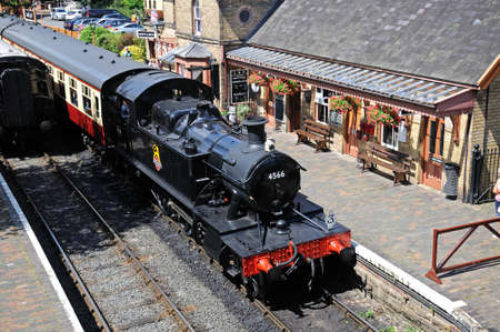 Arley, UK - July 10, 2014 - Small Prairie Tank Locomotive 4500 Class 2-6-2T number 4566 at the railway station, Severn Valley Railway, Arley, Worcestershire, England, UK, Western Europe