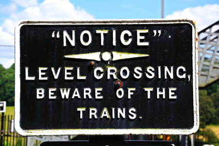 severn: Old Retro beware of trains sign, Severn Valley Railway, Highley, Worcestershire, England, UK, Western Europe