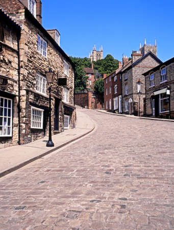 u k: View along Steep Hill, Lincoln, Lincolnshire, England, UK, Western Europe