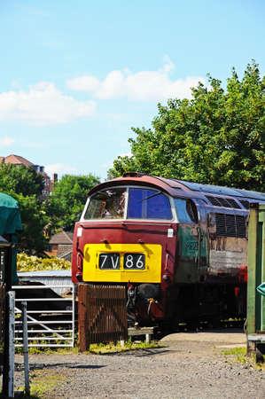 class maintenance: Bridgnorth, UK - July 10, 2014 - Class 52 Western Diesel Locomotive undergoing maintenance, Severn Valley Railway, Bridgnorth, Shropshire, England, UK, Western Europe  Editorial