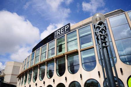 centenary: Birmingham, UK - May 14, 2014 - Front view of the Repertory Theatre Centenary Square, Birmingham, England, UK, Western Europe.