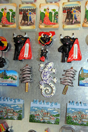 Malaga, Spain - June 14, 2011 - Souvenir fridge magnets, Malaga, Costa del Sol, Malaga Province, Andalucia, Spain, Western Europe. Editorial