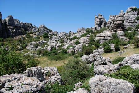 Karst landscape in El Torcal National Park, Torcal de Antequera, Malaga Province, Andalucia, Spain photo