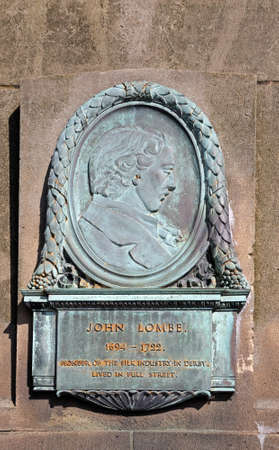 Derby, UK - July 17, 2014 - Plaque of John Lombe - founder of the silk industry in Derby and lived in Full Street (1694-1722), Derby, Derbyshire, England, UK, Western Europe. Editorial