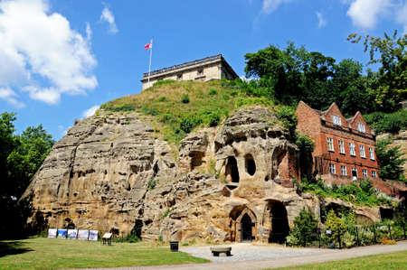 dwelling mound: Nottingham, UK - July 17, 2014 - View of the castle on top of the castle mound caves in castle rock, Nottingham, Nottinghamshire, England, UK, Western Europe. Editorial