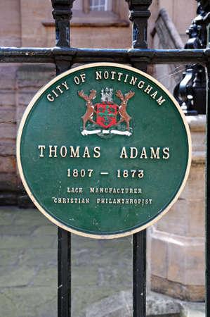 adams: Nottingham, UK - July 17, 2014 - Thomas Adams plaque, Nottingham, Nottinghamshire, England, UK, Western Europe.