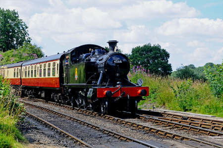 Arley, UK - July 10, 2014 - Small Prairie Tank Locomotive 4500 Class 2-6-2T number 4566 approaching the railway station, Severn Valley Railway, Arley, Worcestershire, England, UK, Western Europe.