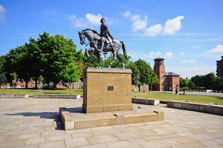 bonnie: Derby, UK - July 17, 2014 - Bonnie Prince Charlie Statue (Charles Edward Stuart 1720-1788) on Cathedral Green, Derby, Derbyshire, England, UK, Western Europe. Editorial