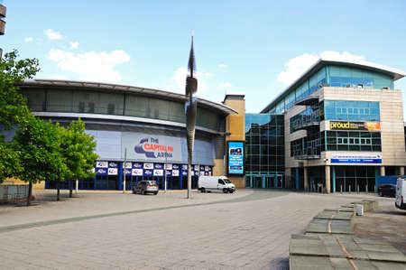 fm: Nottingham, UK - July 17, 2014 - Front view of the Capital FM Arena and Ice Rink, Nottingham, Nottinghamshire, England, UK, Western Europe. Editorial