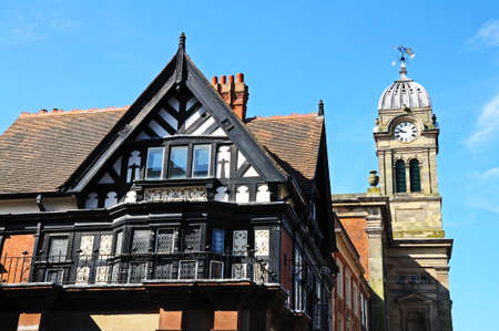 guild hall: The Royal Oak building (Formerly the Royal Oak Pub) and the Guild hall clock tower in the Market Place, Derby, Derbyshire, England, UK, Western Europe.