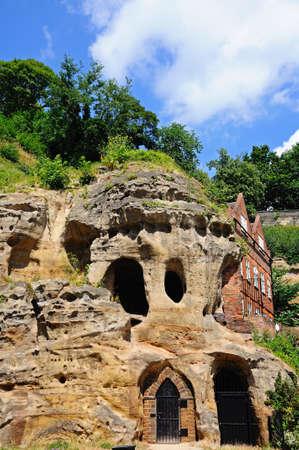 dwelling mound: Castle mound caves in castle rock, Nottingham, Nottinghamshire, England, UK, Western Europe. Editorial