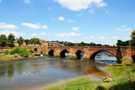 View of Old Dee Bridge along the River Dee, Chester, Cheshire, England, UK, Western Europe.