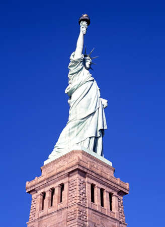 evoking: Statue of Liberty, Liberty Island, New York, USA. Stock Photo