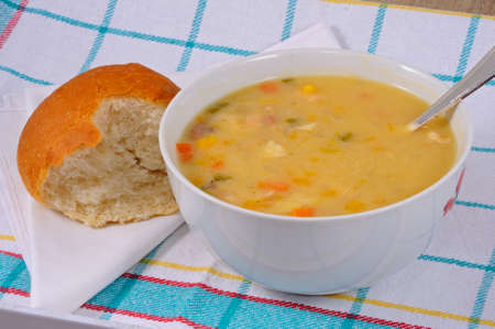 bread roll: Fish chowder soup including smoked haddock, cod, salmon and vegetables served with a bread roll.