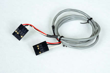 cd rom: CD Rom audio cable (connector between a CD Rom drive and mother board in a tower PC). Stock Photo