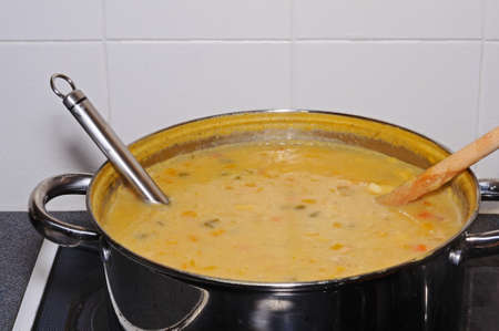 haddock: Fish chowder soup including smoked haddock, cod, salmon and vegetables cooked in large batch.