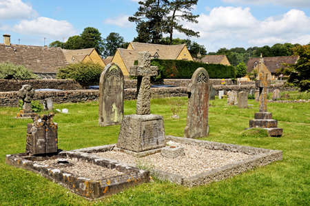 mary's: Gravestones in St Marys churchyard, Lower Slaughter, Cotswolds, Gloucestershire, England, UK, Western Europe. Editorial