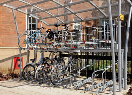 parking station: Double decker bicycle parking station, Derby, Derbyshire, England, UK, Western Europe. Editorial