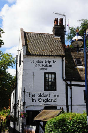 establishment: Nottingham, UK - July 17, 2014 - Ye Olde Trip to Jerusalem Inn situated at the foot of Castle Rock, reputed to be the oldest drinking establishment in England, Nottingham, Nottinghamshire, England, UK, Western Europe. Editorial