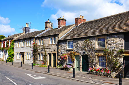 greaves: Ashford-in-the-Water, UK - September 7, 2014 - Cottages in village centre along Greaves Lane, Ashford-in-the-Water, Derbyshire, England, UK, Western Europe.